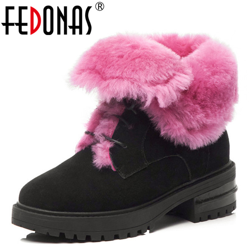 FEDONAS New Warm Winter Snow Boots High Quality Cow Suede Lace Up Martin Shoes Woman High Heels Female Motorcycle Boots fedonas new warm autumn winter snow shoes woman high heels zipper short martin boots retro punk motorcycle boots 2019 new shoes