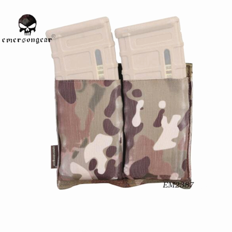 Emersongear Double M4 Pouch FAST Magazine Molle Airsoft Wargame Gear Equipment MAG Multicam Black EM2387