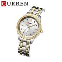 Women Watches CURREN Brand Casual Fashion Quartz Wristwatches Crystal Design clock relogio feminino gold blue Ladies Gift 9010