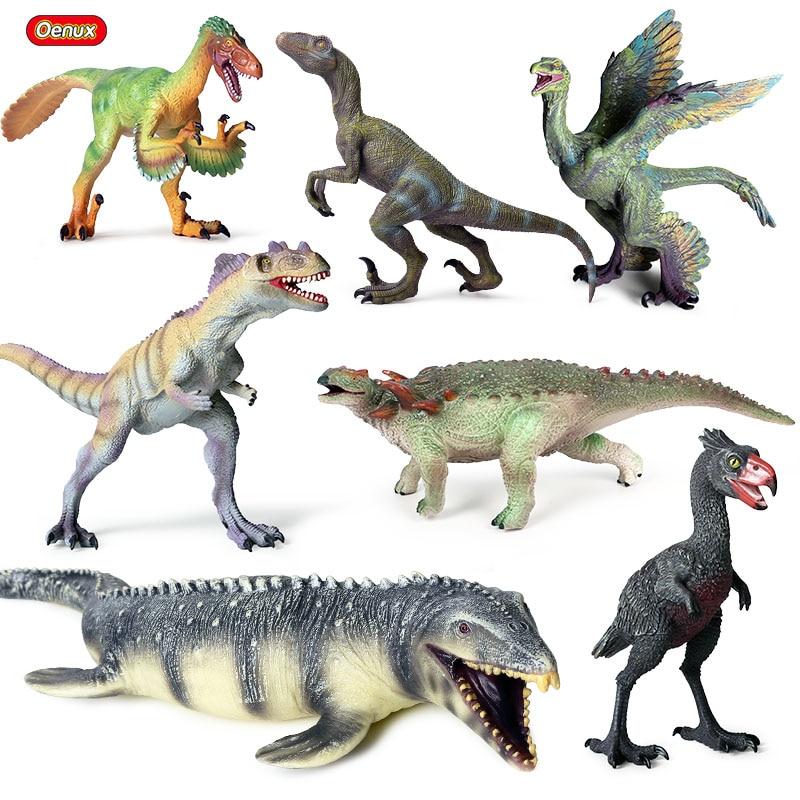Oenux Prehistoric Dinosaur World Park T-Rex Action Figures Soft Vinyl PVC Jurassic Velociraptor Mosasaurus Model Collection Toy