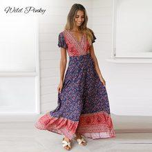 цены на Women Long Maxi Dresses Bohemia V-neck short Sleeve Floral Print Ethnic Summer Beach Female Split Stylish Style Dress boho  в интернет-магазинах