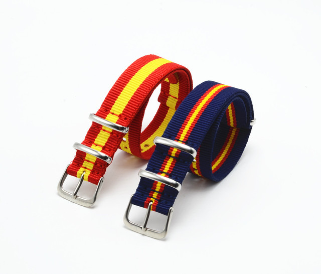 Carty 18 20 22mm 2pcs Spain Colors Nylon Nato Strap for Sport Wristwatch