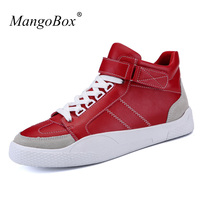 Popular Male Casual Shoes Luxury Brand Young Boy Casual Footwear Mens White Red Fashion Shoes High