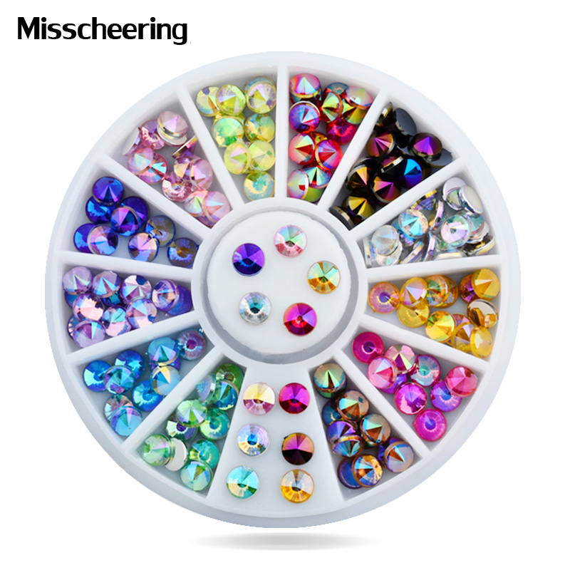 Жаңа 4мм жоғары сапалы Nail Art Кеңестер Sharp Glitter Crystal AB Colors Rhinestone 3d Charm Nail Decoration Wheel