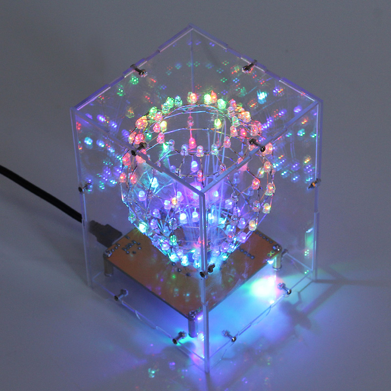 RGB LED Cubic Ball DIY Kit Colorful LED Light Cube Cubic Ball W/ Shell Creative Electronic Kit Remote Control DIY Night Lights