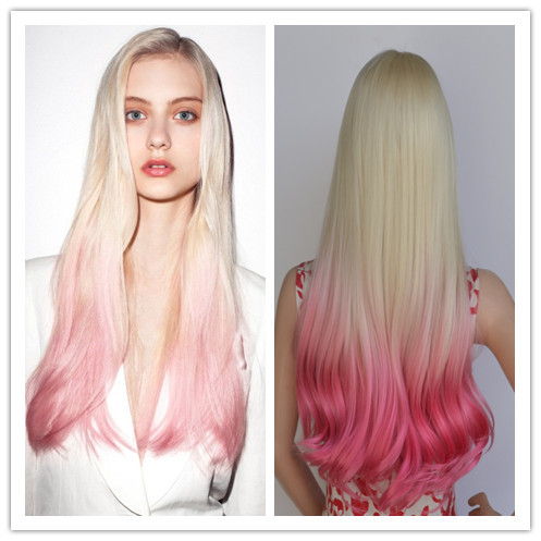 Dropshipping Kanekalon Synthetic Hair Long Curly Blonde Pink Ombre Lace Full Wigs Cosplay Anime
