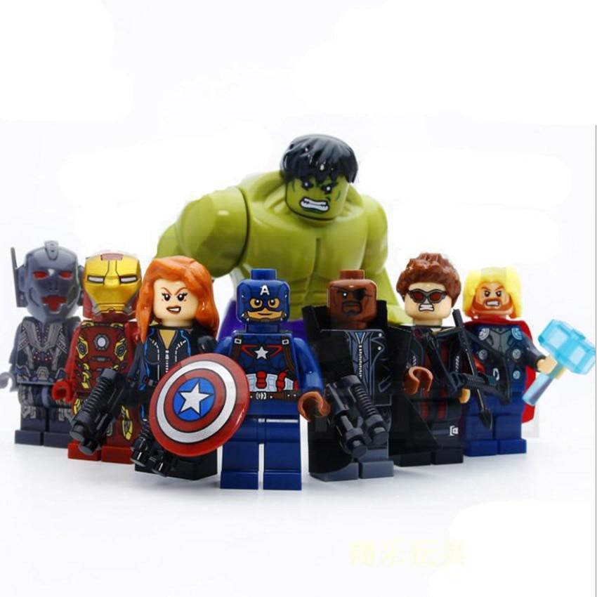 8pcs Super Heros Marvel Avengers Infinity War Action Figure Hunk Superman Building Blocks Set Compatible Legoinglys Toys
