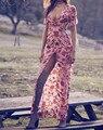 Mujeres gorgeous azafrán maxi dress sexy espalda abierta con un frente limo satén de seda puesta de sol floral women dress