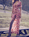 Women Gorgeous Saffron Maxi Dress Sexy Open Back With A Front Silt Silk Satin Sunset Floral Women Dress