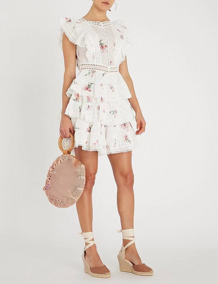 2019 Women Solid Sweet Cute Mini Dress A-Line Embroidery Lace Sexy Cascading Ruffle