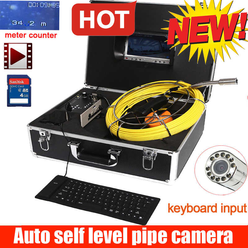 IP68 self level auto balance sewer pipe inspection camera industrial video borescope inspection camera with keyboard counter DVR