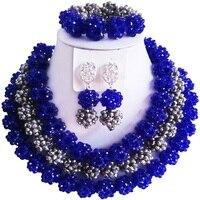 Классический Королевский Синий Серебряный цвет африканский бисер женский кристалл набор украшений для помолвки 3C SJTQ 13