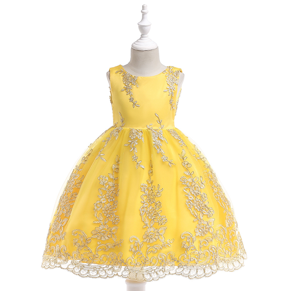 Fall Flower Girl Dresses Romantic Gold Wire Appliques Decoration Prom Banquet Formal Birthday Party Gown For Little Girls