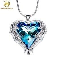 MEMOPOI New Fashion Jewelry Crystals From Swarovski Necklaces Women Pendants Heart Shaped Chic Luxury Copper Hyperbole