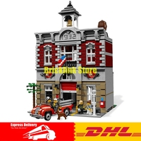 In Stock 2313Pcs Lepin 15004 City Street Fire Brigade Model Building Kits Blocks Bricks Compatible 10197