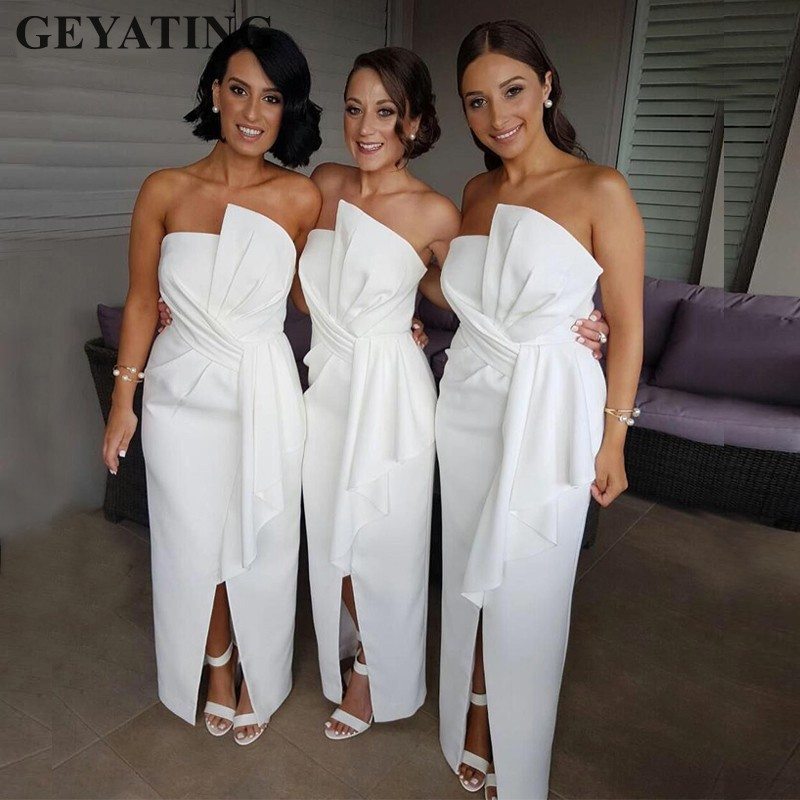 Simple Long Satin Bridesmaid Dresses 2019 Cheap Strapless Split Ankle Length African Women Formal Dress Wedding Guest Party Gown