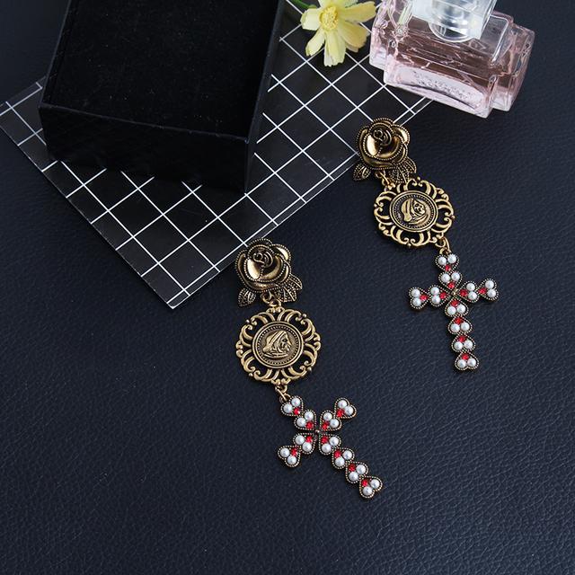 Boho Christian Style Cross Drop Earring