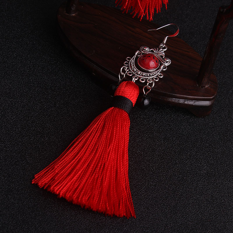 Big star traditional Miao silver Fringes tassel dangle earrings red  , New Chinese wind Ethnic earrings jewelry red