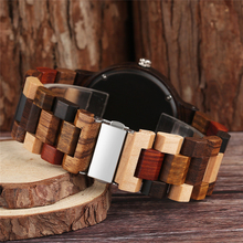 Vintage Full Wood Watch Male Unique Mixed Color Wooden Band Quartz Watch Men Clock Man Top Luxury Round Dial Watch Reloj Hombre