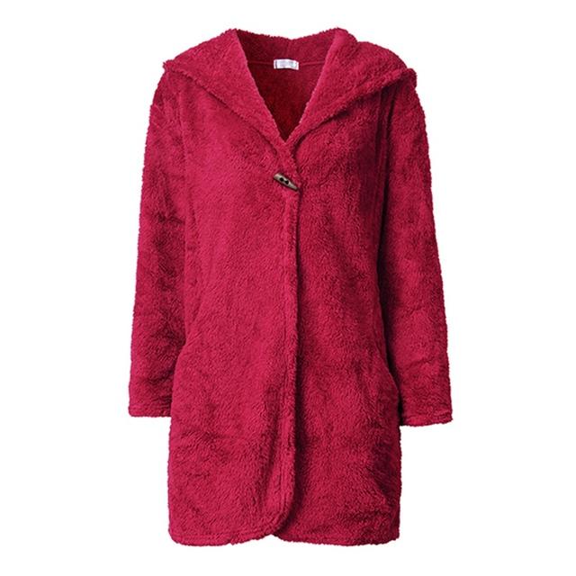 Alta Calidad 2017 de La Manera Mujeres Loungewear Albornoz Con Capucha Coral Polar Cálido Invierno Túnica Femenina ropa de Noche Ocasional