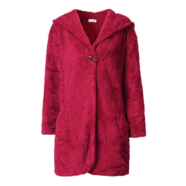 High Quality 2017 Fashion Women Loungewear Bathrobe Hooded Coral Fleece Winter Warm Robe Female Casual Sleepwear