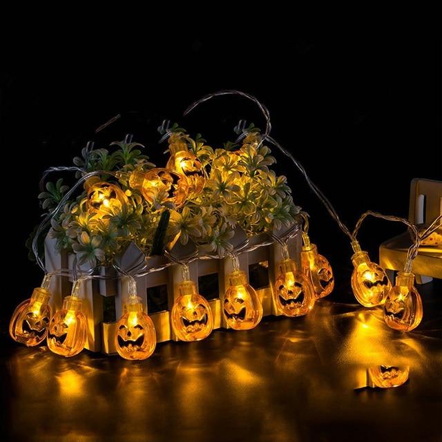 10 LED 1.8M Halloween Decor Pumpkins/Ghost/Spider/Skull LED String Lights Lanterns Lamp for DIY Home Bar Outdoor Party Supplies