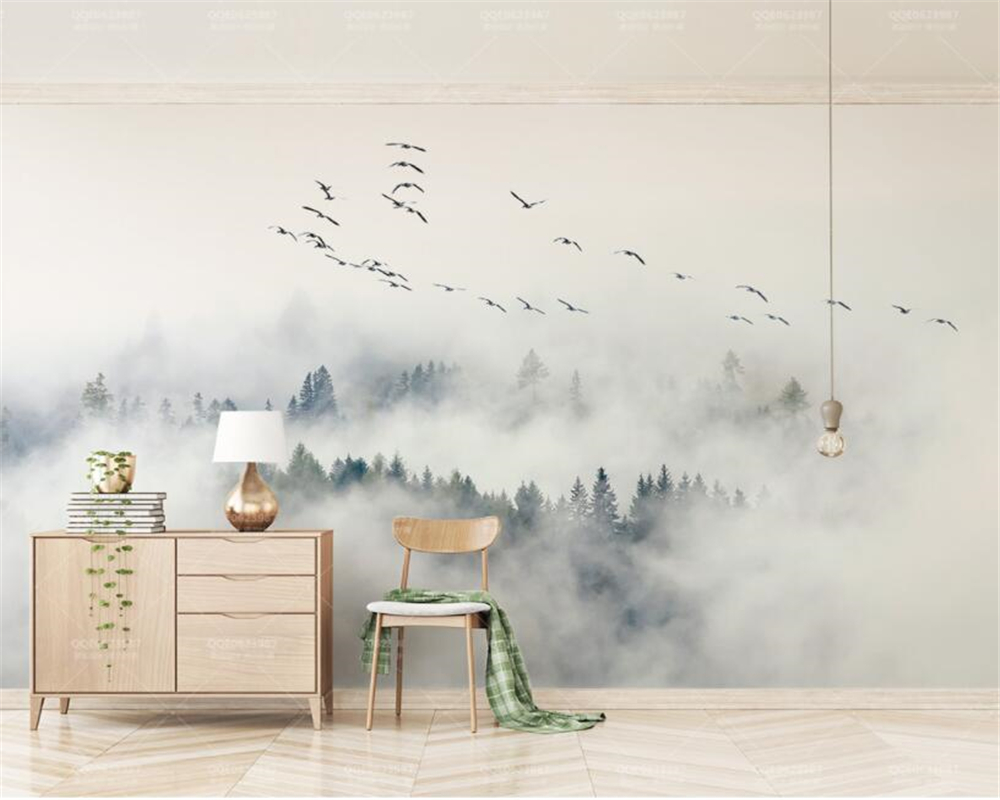 Beibehang Custom Wallpaper Photo wall mural wallpaper of Bird Pine Forest Clouds wall papel de parede wallpaper Wall Sticker beibehang custom wallpaper giant mural painting super aesthetical dream forest moonlight whole house wall murals papel de parede