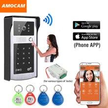 Wireless Wifi Video Intercom Doorbell Video Door Phone System Touch Keypad / RFID card / password for Cell Phone intercom Unlock