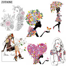 ZOTOONE Beautiful Girl Patches Iron on Transfer for Clothing Beaded Applique Embroidery Flower DIY Clothes Decoration E
