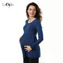 Свободная туника для беременных, топы размера плюс, блузка для беременных с длинным рукавом, футболка с оборками, Одежда для беременных женщин, одежда для беременных
