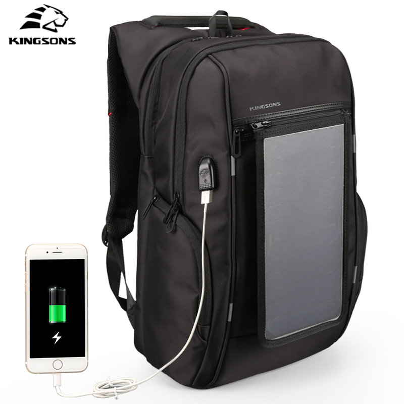 Kingsons Solar Panel Backpacks Waterproof Large Capacity 15.6 Inch Convenience Charging Laptop Bags for Travel Solar Charger Day