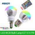 Lo nuevo RGB Bombilla LED E27 E14 5 W LLEVÓ La Lámpara de Luz Led Lampada Spotlight Luz 16 Cambio de Color AC85-265V + Control Remoto