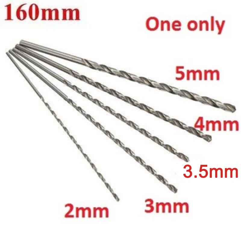 2-5mm Dia. Drill Bit Extra Long High Speed Steel Straight Shank Auger Twist Drill Bit Set 160mm For Metal Wood Power Tool Mayitr