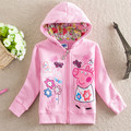 The new children's clothing in Europe and the cartoon cute pink sweet girls jacket made of pure cotton with cap zipper