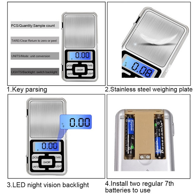 Electronic LCD Display Scale Mini Pocket Digital For Jewelry 100/200/300/500g X0.01g High Accuracy Weigh Balance 4