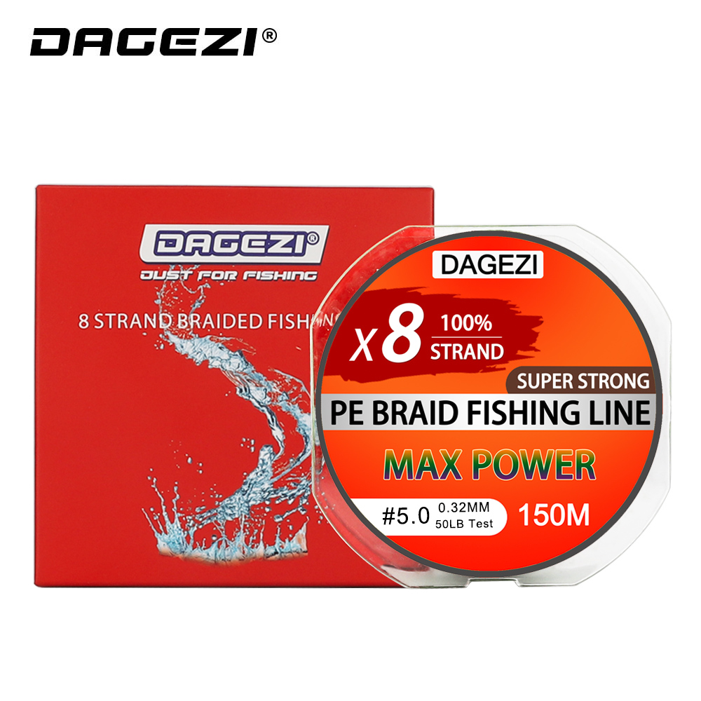 DAGEZI Super Strong With Gift 8 strand 150m 10-80LB brand fishing lines 6colors 100% PE Braided Fishing Line smooth line aqua pe ultra elite m 8 yellow 150m 0 25mm 18 10kg
