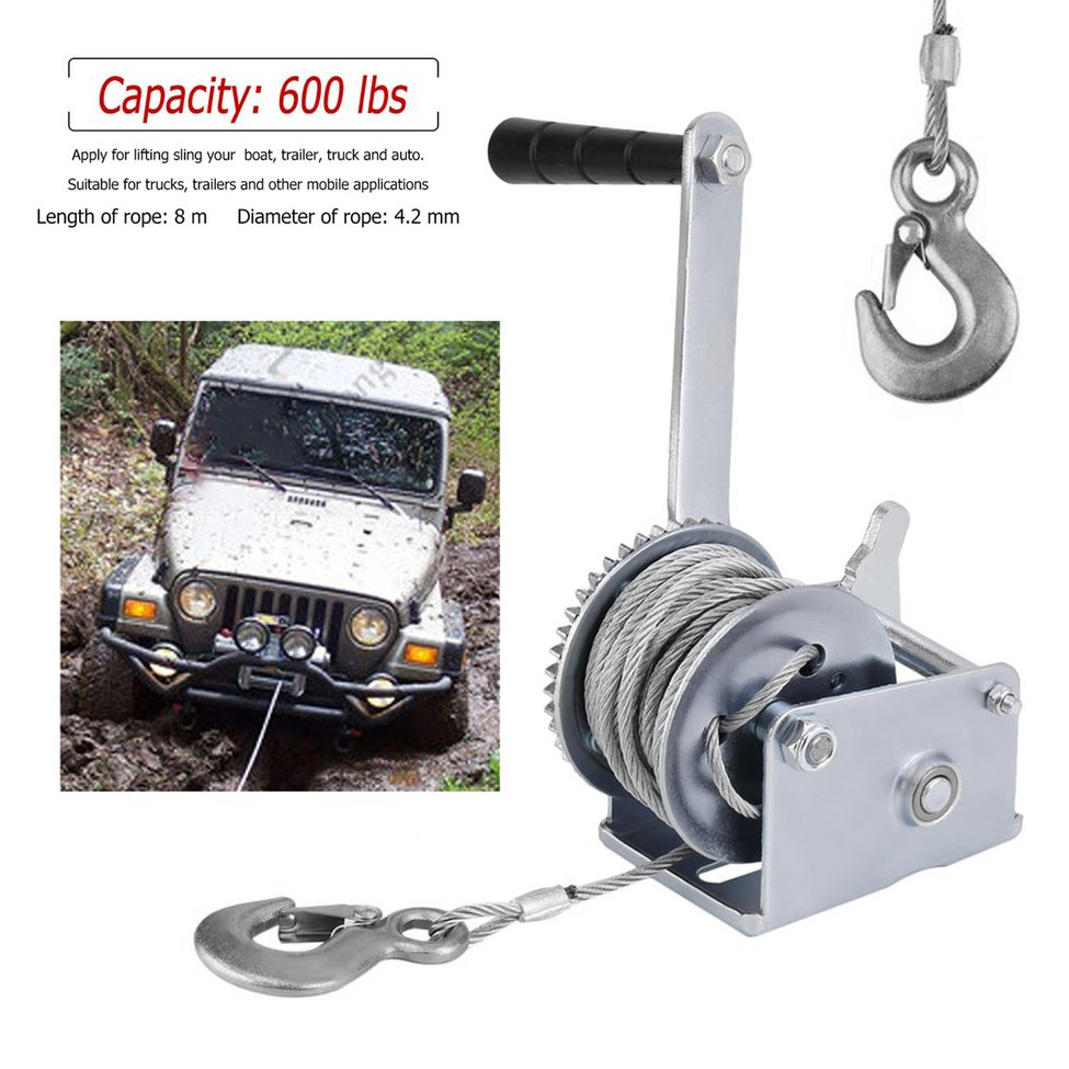 Durable Steel Wire Cable 600 Lbs Load Boat Trailer Manual Operated Hand Winch