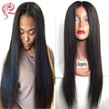 Light Yaki Virgin Straight Human Hair Full Lace Wigs 130 Density Malaysian Human Hair Yaki Hairstyles Glueless Lace Front Wigs