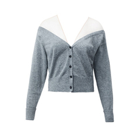 KENVY Brand fashion women's high end luxury autumn sexy perspective elegant high waist mesh knitted V neck cardigan sweater crop