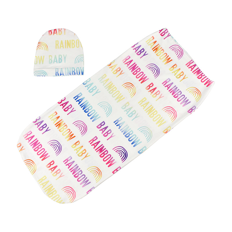 Newborn Infant Baby Boys Girl Print Cotton Swaddle Blanket Bags Toddler  Kids Girl Soft Cotton Towerl Wrap Blanket Hats Headband