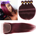 7A Straight Brazilian Virgin Hair With Closure Human Hair Bundles With Closure 99J Red Wine 2/3/4Bundles With Closure