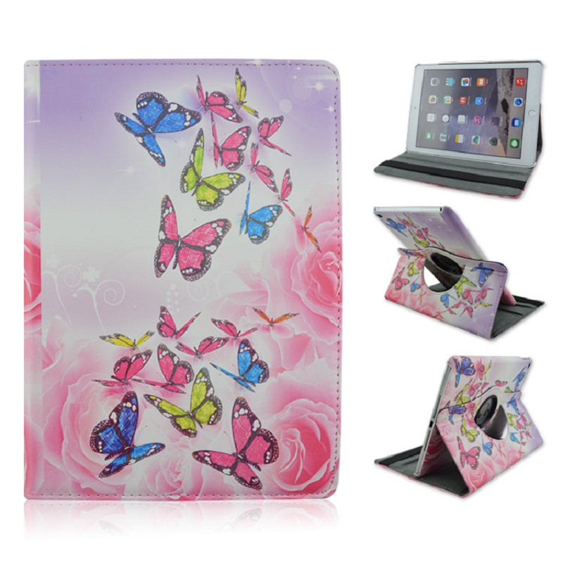 Foldable PU Leather Pad Cover with Pink Butterfly Style Support 360 Degrees Rotation for iPad Air 2 foldable pu leather pad cover with flower girl driving style inlaid diamond support stand for ipad mini 3