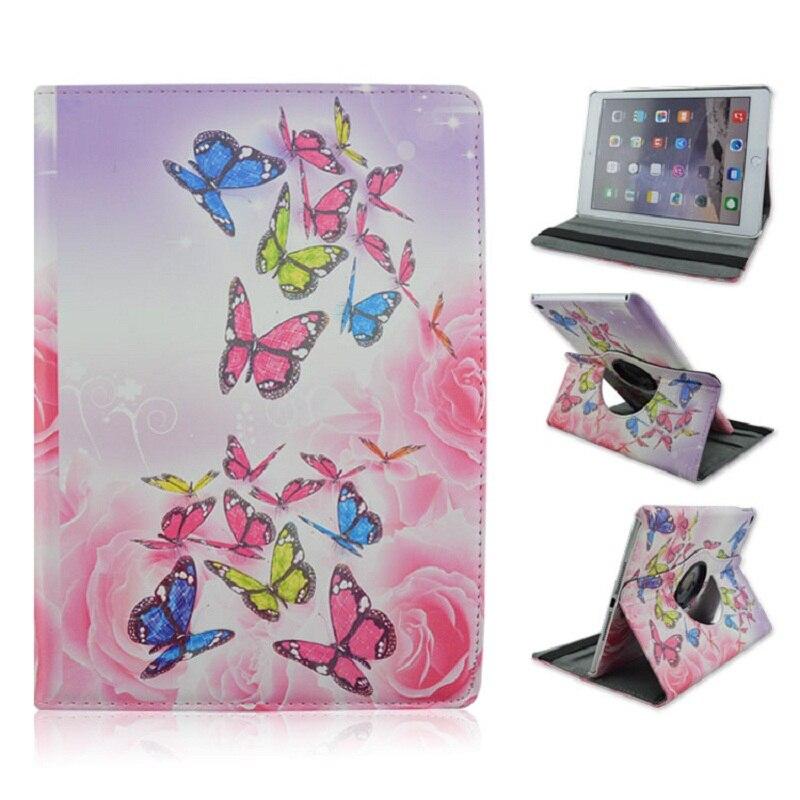 Pliable PU Coussin En Cuir De Couverture avec Rose Papillon Style Support 360 Degrés de Rotation pour iPad Air 2