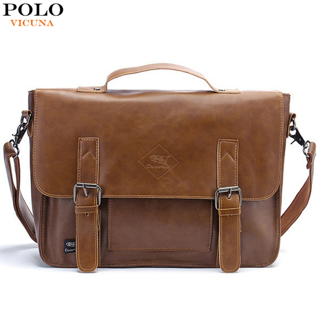 d5dc7de837 POLO VICUNA Famous Brand High Capacity Leather Mens Handbag Casual Business  Men Leather Briefcase Bag Large Mens Shoulder Bags