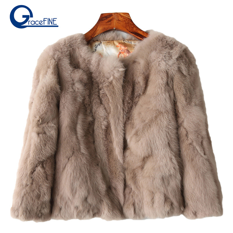 Autunno e di Inverno di Lusso Cappotto di Pelliccia Caldo Giacca e Cappotto di Pelliccia Del Coniglio delle Donne di Grandi Dimensioni Cappotto di Inverno delle Donne erba in pelle Femminile
