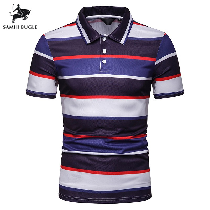 Men   Polo   Brand High Quality Breathable White Striped Short Sleeve   Polo   Shirt Cotton Work Clothes   Polos