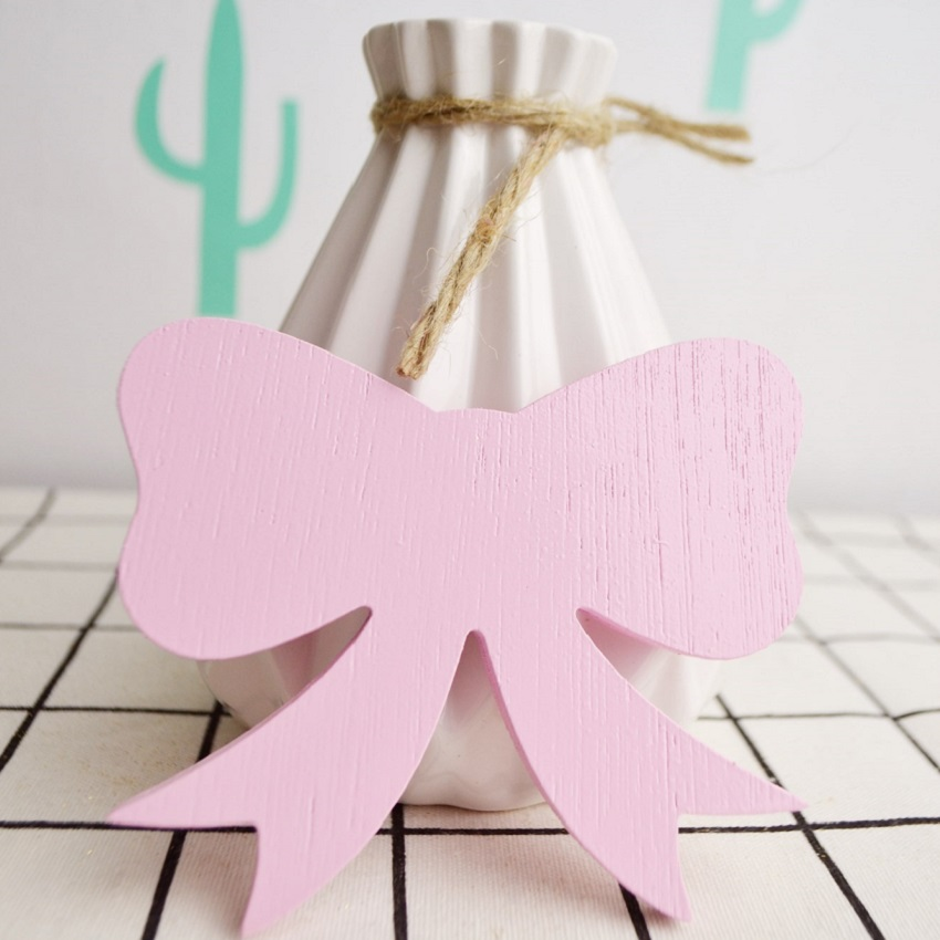 Cute bow tie pink wooden hook hangers for kids room wall for Wall hooks for kids room