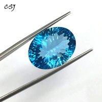CSJ 100% Природный Голубой топаз незакрепленный драгоценный камень глубокий Цвет большой камень Oval15 * 20 мм 23ct бриллиантовой огранки для ювелир