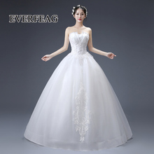 EVERFEAG Luxury design ball gown white satin sleeveless