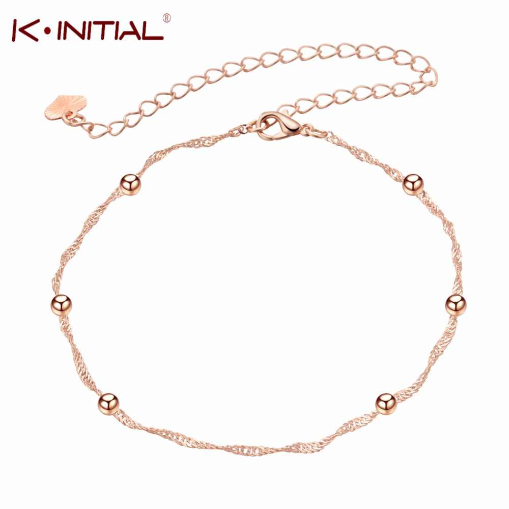 Tiny Ball Foot Feet Ankle Chain Anklet Bracelet Women Girl Charm Rose Gold Alloy Fashion Summer Jewelry